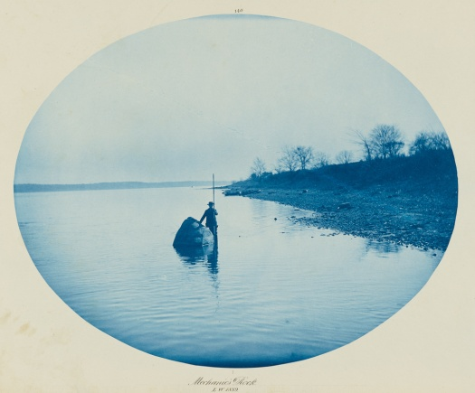 [mechanic's rock, low water]; henry p. bosse (american, 1844 - 1903); 1889; cyanotype; 26.5 × 33.2 cm (10 7:16 × 13 1:16 in.); 2002.32.4; j. p